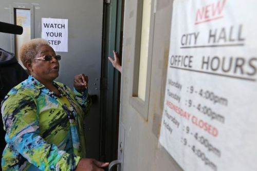 Mayor Betty McCray prevented from entering city hall in Kinloch, Missouri.